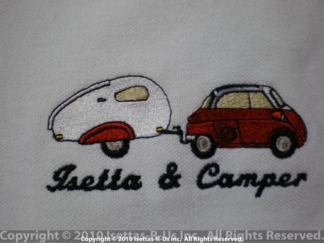 Red embroidered Isetta with Piccolo camper